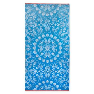 Seahorse Medallion Jacquard Oversized Beach Towel In Blue Coral
