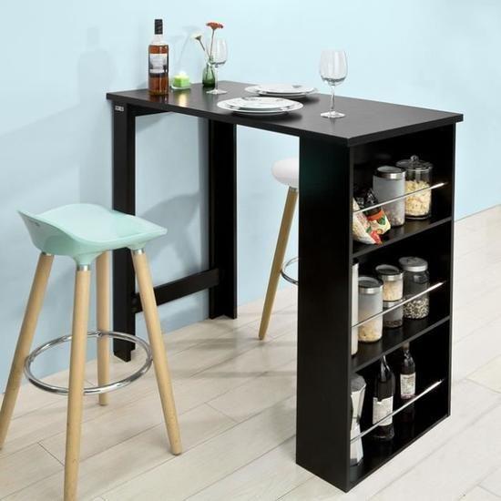 Sobuy Fwt17 Sch Table Haute Table De Bar Mange Debout Avec 3 Etageres De Rangements Noir En 2020 Table De Cuisine Avec Rangement Table Bar Cuisine Table Haute