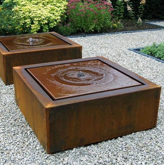 Square Garden Fountain |A simple and stylish water feature with fountain. In Corten steel or black aluminium. LED lit water features, perfect for urban gardens. This geometric design is rustic yet modern, a great way to create a sensory garden too!