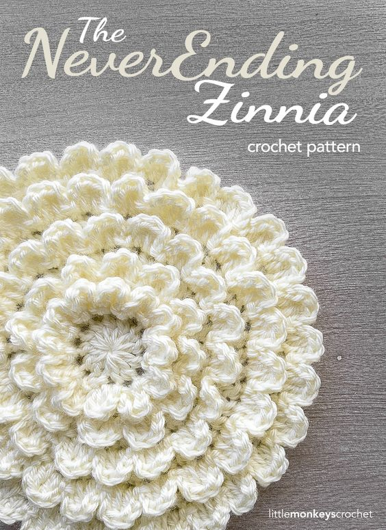 The NeverEnding Zinnia Crochet Pattern | Free Flower Crochet Pattern by Little Monkeys Crochet (www.littlemonkeyscrochet.com):