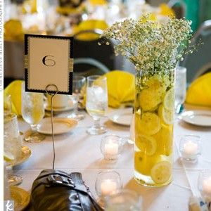 Lemons and Baby's Breath - cheap and easy centerpiece