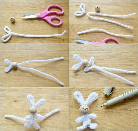 Instructions for bunny tinkering with pipe cleaner  #BastelideenfürKinder #bunny #cleaner #instructions #tinkering,