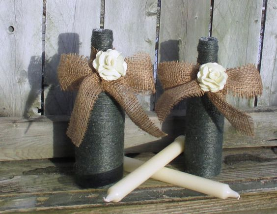 Rustic Wedding Decor / Fall Wedding by CarolesWeddingWhimsy, $24.99, set of 2, Green Jute and Burlap Rustic Wedding Taper Candle Holders....candles are included.  Check them out at https://www.etsy.com/listing/177402595/rustic-wedding-decor-fall-wedding