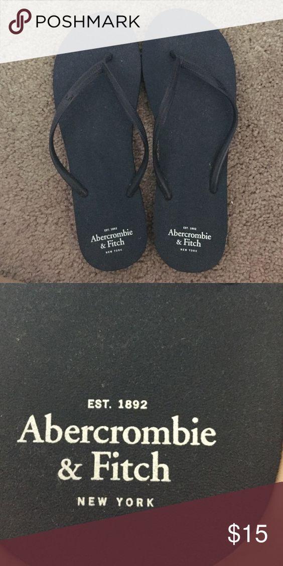 A&F navy plastic flip flops NWOT A&F plastic navy flip flops Abercrombie & Fitch Shoes Sandals