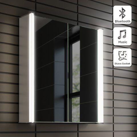 600x650mm Luminaire Illuminated LED Mirror Cabinet - Bluetooth Speaker & Shaver Socket