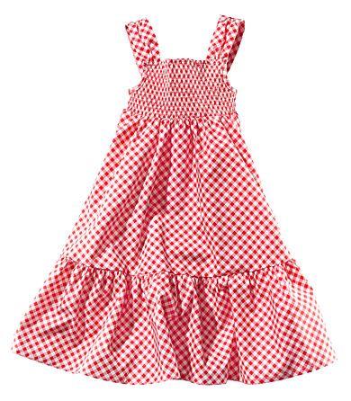 H&M smocked red / white girls sun dress 100% cotton 9,95