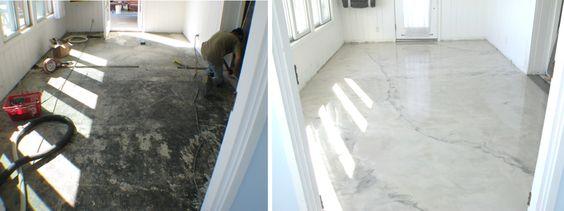 Sunroom Metallic Epoxy Floor Before and After