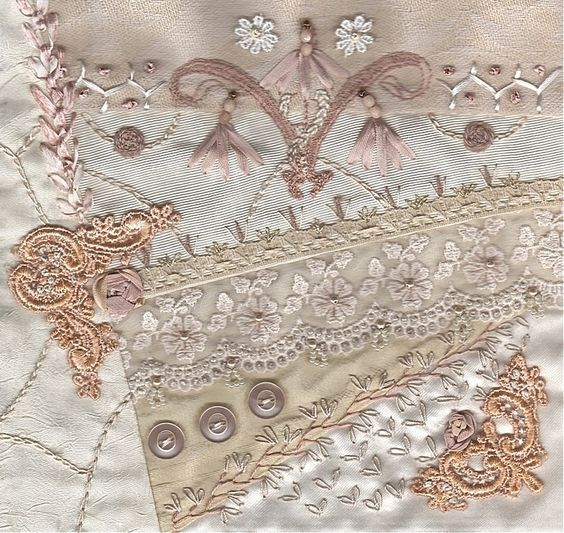 I ❤ crazy quilting & embroidery . . .  Tone on Tone block for Rita ~By Stitch Empress:
