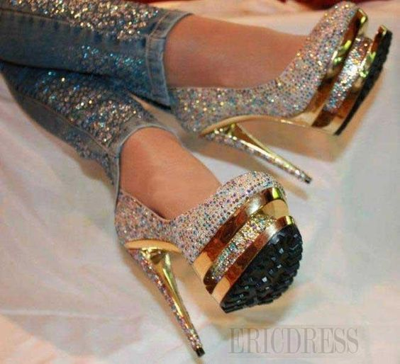 Luxurious Rhinestone Platform Stiletto Heels 6