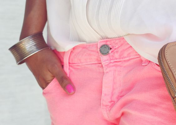 : Pink Shorts, Summer Style, Silver Cuff, Pink Pants, Hot Pink, Pink Jeans, Neon Pink, Colored Jeans