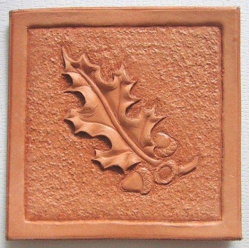 Tooled leather patterns oak leaf hand