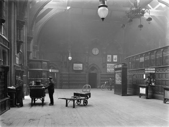 St Pancras station's somewhat baronial booking hall, 1912.