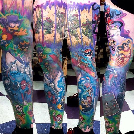 cartoon leg tattoo sleeve by Artist Loki Shane DeFriece of Atlanta, Georgia... Samurai Jack, The Tick, The Simpsons, Futurama, Dexters Laboratory, Wile E Coyote, Animaniacs, Teenage Mutant Ninja Turtles, Spiderman, Powerpuff Girls, Mighty Mouse