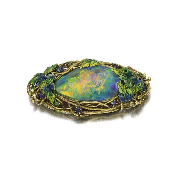 Gold, enamel and opal brooch, Louis Comfort Tiffany, Circa 1910