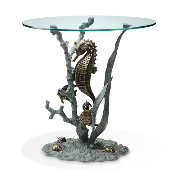 Beauty of The Sea Accent Glass End Table Ocean Coastal Nautical Mermaid | eBay