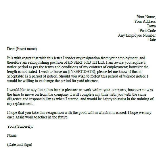 Formal Resignation Letter with Notice Period employment - formal resignation letter sample