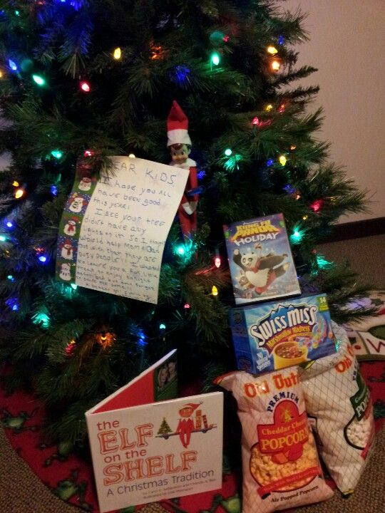 1st night of elf on the shelf. He noticed the tree was up but no lights on so he helped out w that n then left a yummy snack to eat that night  :)