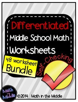 math worksheet : middle school math bundle of self checking worksheets  : All Operations With Decimals Worksheet