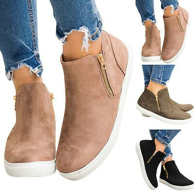 Womens Ankle Boots Zip Slip On Trainers