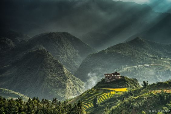 The sun beams through the fog in an afternoon in Sapa, Vietnam