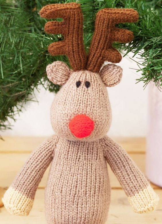 Free Christmas knitting pattern for a knitted reindeer Christmas Knitting G...