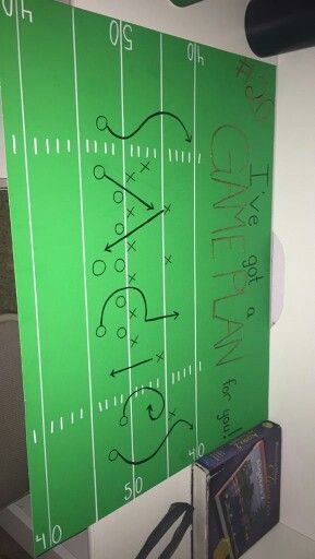 A cute and creative way to ask a football fan to a Sadie Hawkins dance! Materials: green poster board, black sharpie, white paint pen, glitter glue.