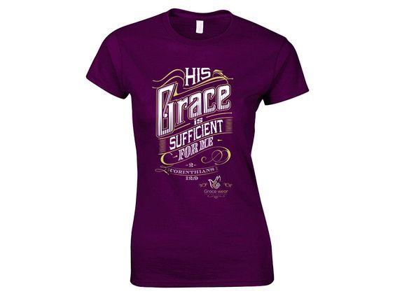 2 Corinthians 12:9 Ladies Christian T-shirt