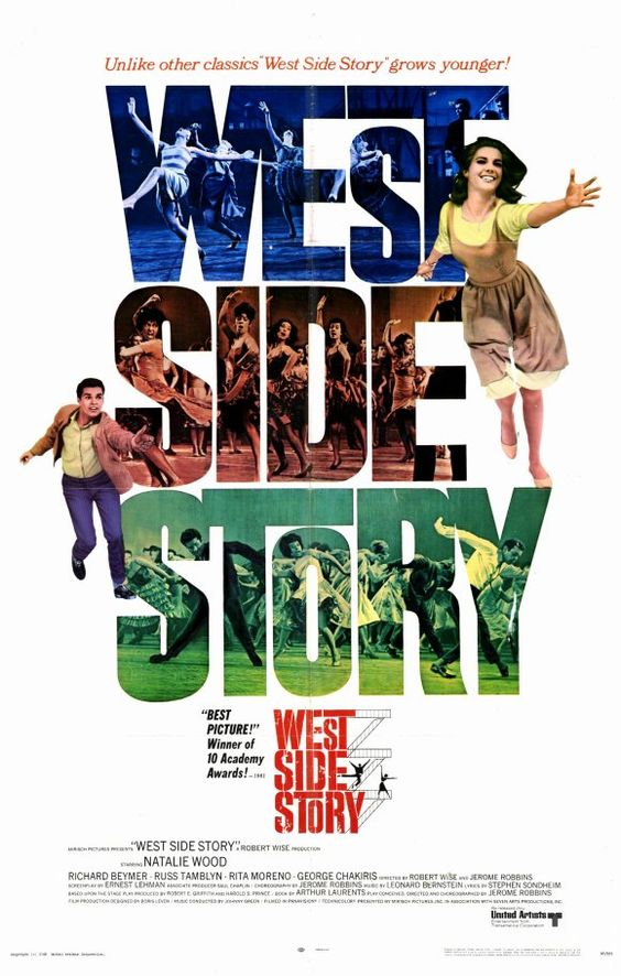 West Side Story : A upbeat musical addaption of Romeo And Juliet set in 1947  where maria and tony fall in love despite the fighting betweentheir 2 gangs