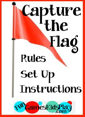 How to play the game of Capture the Flag - Rules, set up and instructions for the fun group game.    More outdoor games for kids at fungameskidsplay.com