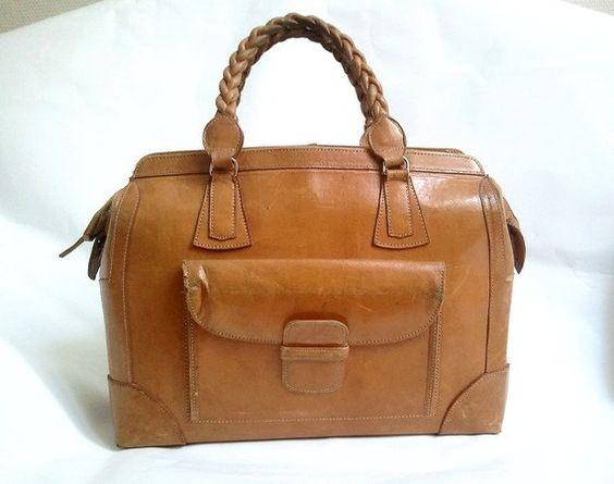 vintage 50s french  leather bag by lesclodettes on Etsy, $65.00