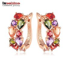LZESHINE Top Sale New Flower Earrings 18K Rose Gold Plate Multicolor Cubic Zircon Stud Earrings for Women Bijoux Brinco CER0143(China (Mainland))