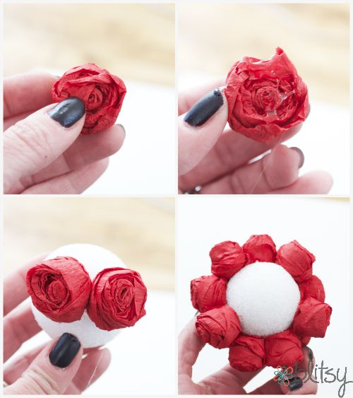 DIY mini rose pomander - the roses are made out of streamers! #blitsy #blitsycrafts