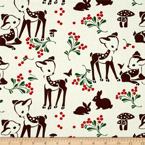 Michael Miller Holiday Fawn Memories Cream from @fabricdotcom  From Michael Miller Fabrics, this cotton print collection features delightfully retro christmas and holiday designs. Perfect for quilting, apparel, and home decor accents. Colors include cream, brown, red, and green.