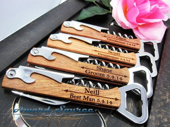Gift for Groomsmen - Father of the Bride or Father of the Groom Gift - Wine Bottle Opener - Free Engraving