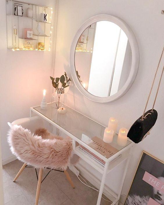 Dressing Table Makeup Home Decoration Small Room Mirror Stool Bedroom Cloakroom Bathroom Diy Home De Trang Tri Căn Hộ Thiết Kế Nội Thất Ban Trang điểm