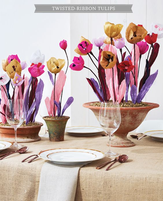 DIY Paper Flower Centerpieces - This one is Twisted-Ribbon Tulips - beautiful and cheerful! I'm making one for a friend in assisted-living to brighten up her room !!