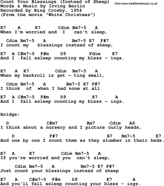 Song Lyrics with guitar chords for Count Your Blessings - Bing Crosby, 1954 : christmas ...