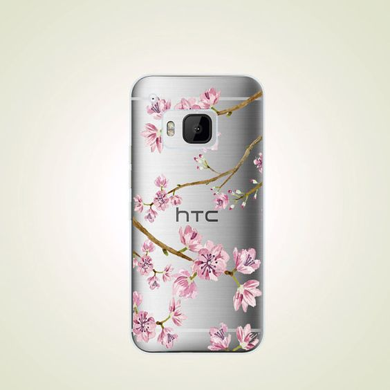 Cherry Blossom TPU Soft case Floral HTC one M9 by LittleThingsCafe