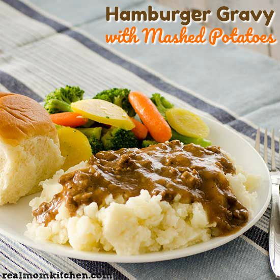 This Recipe For Hamburger Gravy With Mashed Potatoes Is Like Having Salisbury Steak With Out Having To M Hamburger Gravy Hamburger Gravy Recipe Mashed Potatoes