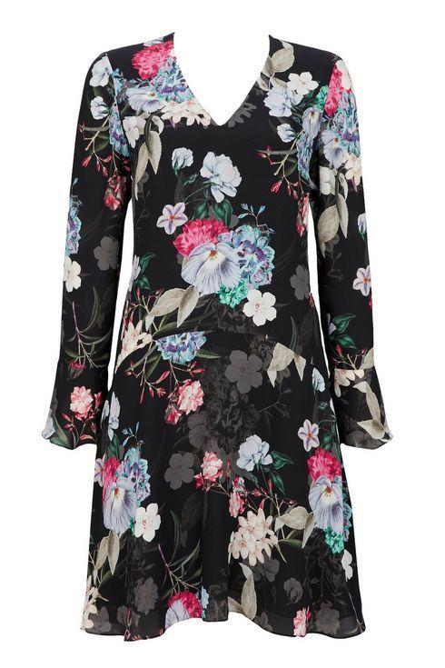 Wallis Black Dropped Waist Floral Shift Dress Size Uk 12 Lf089 Gg 08 Fashion Clothing Shoes Accessori Floral Shift Dress Shift Dresses Uk Vintage Tea Dress