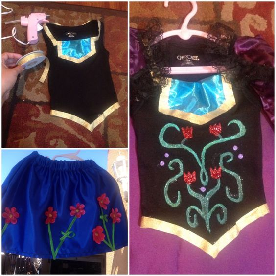DIY FROZEN ANNA  buy a tank top from target. Then just cut the bottom and decorate it. Youtube will show u how to make the skirt. The cape is super easy as well.