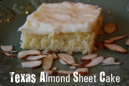 Texas Almond Sheet Cake - Page 080 by yourhomebasedmom, via Flickr ... (no nuts; yet a good alternative for the Texas Sheet Cake for any party)