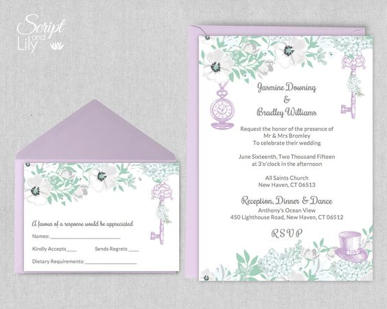 Mint and Lavender Alice in Wonderland Invitation Template – Wedding Invitations with Free Response Cards