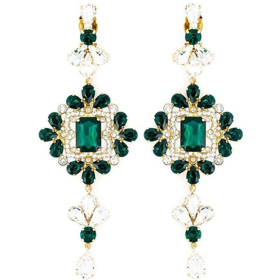 Dsquared2 embellished earrings ($655) ❤ liked on Polyvore featuring jewelry, earrings, green, earrings jewelry, green jewelry, clip-on earrings, hook earrings and dsquared2