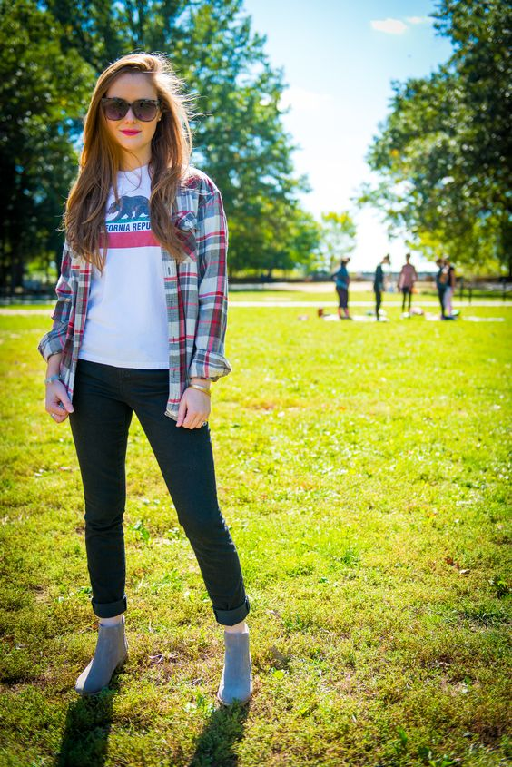 Jackietara blog - Plaid Will Never Die | Plaid Flannel for Fall | @gap black denim and grey Chelsea booties