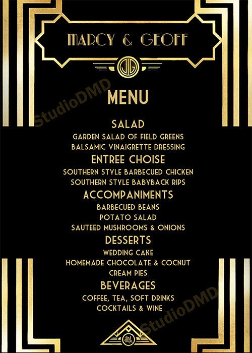 Printable Menu Card Template Great Gatsby Style Art Deco Black And Gold Wedding Prom Birthday Download Instantly Editable Text Gg01 Menu Card Template Printable Menu Cards Menu Cards
