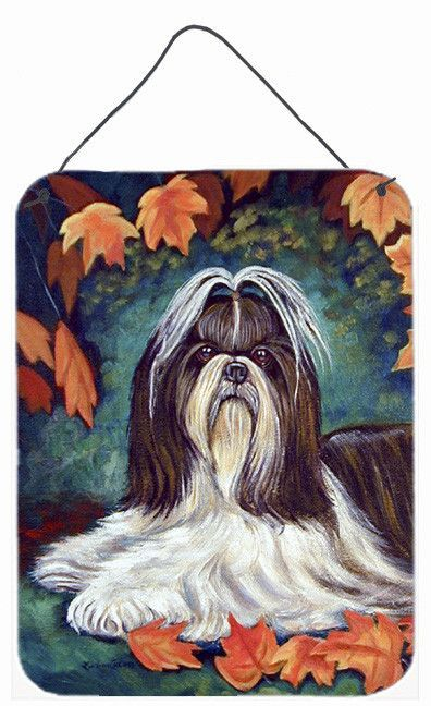 Autumn Leaves Shih Tzu Aluminium Metal Wall or Door Hanging Prints