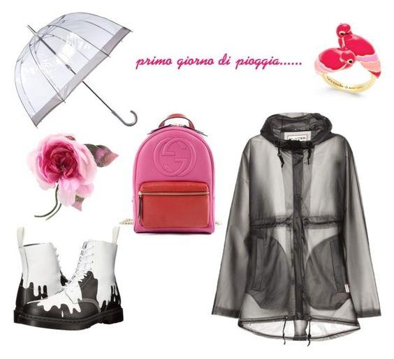 """""""primo giorno di pioggia"""" by aldaporcellotti on Polyvore featuring moda, Hunter, Dr. Martens, Gucci, Fulton e Kate Spade"""