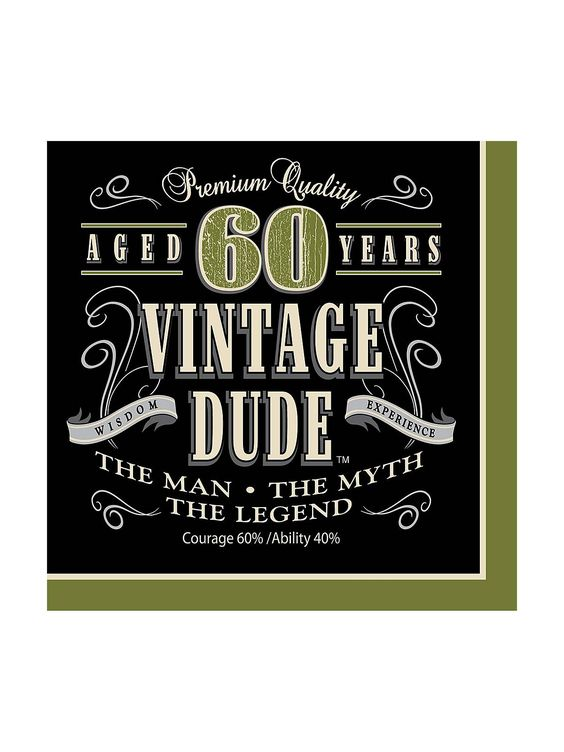 Vintage Dude 60th Luncheon Napkins - Party Supplies & Themed Tableware