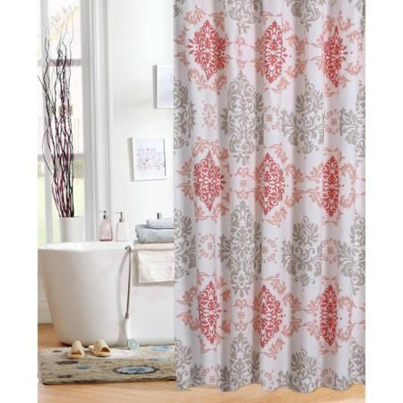 Mainstays Coral Damask Shower Curtain | Damasks, Showers and Coral
